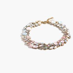 "A mix of colorful crystals form an of-the-moment ombré effect on a necklace that you'll wear now and later and later... <ul><li>Length: 18"" with a 2 1/4"" extender chain for adjustable length.</li><li>Brass, glass, epoxy stone, moss agate, rubber.</li><li>Light gold ox plating.</li><li>Import.</li><li>Jewelry Design © 2015 J.Crew International, Inc.</li></ul>"
