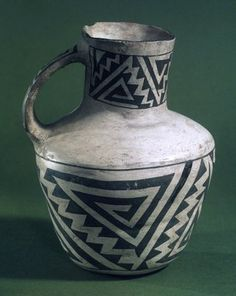 Pitcher with Black on White Geometric Designs, Anasazi, Native American; Brooklyn Museum: Arts of the Americas: