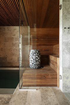 HIVE electric sauna heater is an elegant solution for bigger saunas. Design sauna heater made of stainless steel. Rustic Saunas, Modern Saunas, Sauna House, Sauna Room, Home Spa Room, Spa Rooms, Design Sauna, Scandinavian Saunas, Electric Sauna Heater