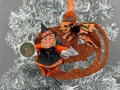 Vintage Halloween Witch Jack O Lantern Ornament Halloween   Etsy