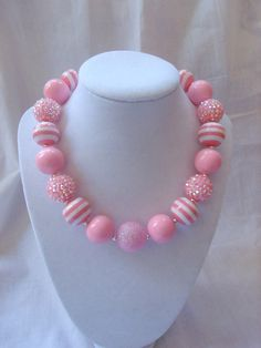 pink chunky bead bubblegum necklace pink by LightningBugsLane, $15.00