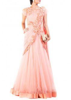 Peach saree drape gown