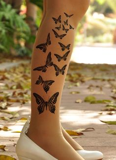 Tattoo Tights / Pantyhos / stockings - BUTTERFLY -  size  S / M / L / XL  full length tattoo leggings -Nude,Grey,Vanilla, Light Mocha