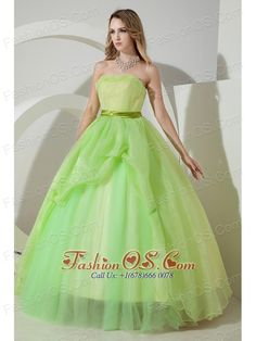 Light  Green Sweet 16 Dress Beading and Embroidery A-line / Princess Strapless Floor-length Organza  http://www.fashionos.com    Charming and fantastic! This gorgeous ball gown stands out for the sheathy bodice with the strapless bustline decorated with a beautiful band and the puffy skirt, which reminds you the old fashioned hoop skirt. A ruched waistband will contour your waistline and tiers of tulle on the skirt make the dress more charming. Zipper up back allows the dress easy off and on.