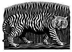 Tiger, Tiger - Linocut by Hugh Ribbans