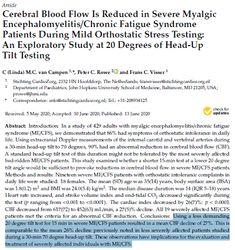 Heads Up, Chronic Fatigue Syndrome, Interesting News, Pediatrics, Tilt, Flow, Thats Not My, Stress, Study