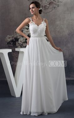 Flowy Flowered Sleeveless Modern Chiffon Gown Wedding Dress. #beautiful #wedding #dresses #designers #affordable #wedding #dress #styles #backless #unique  #DorisWedding.com