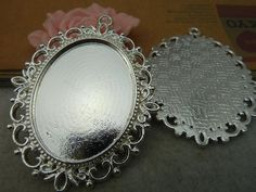 5PCS Silver Pendant Trays 30x40mm Oval Bezel Cup by JuanGao, $5.00