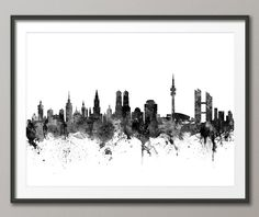 Munich Skyline, München Germany Cityscape Art Print (2662) by artPause on Etsy