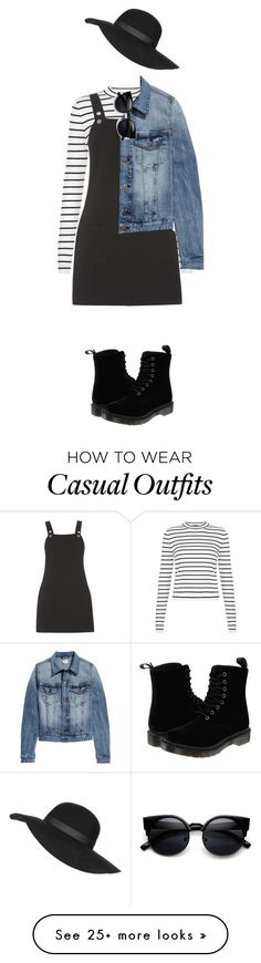"""Casual Outfit- Denim + Stripes"" by indiegopearl on Polyvore featuring moda, Dorothy Perkins, Dr. Martens, H&M, Topshop, women's clothing, women, female, woman e misses"
