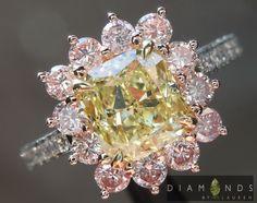 Yellow Diamond, Pink Diamond and Diamond Ring, 18k platinum.