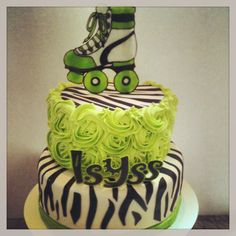 Neon green and zebra roller skating cake by Jen Kwasniak