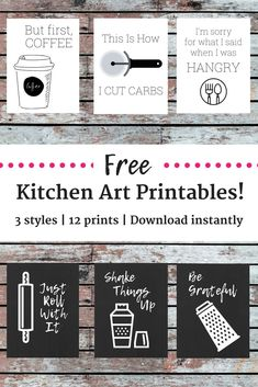 Add a little pizazz to your kitchen with these free kitchen printables! There are 12 different options for you to download and print out! | kitchen wall décor | kitchen wall art | food printables | #decor #kitchen #printable #newhome #diyproject