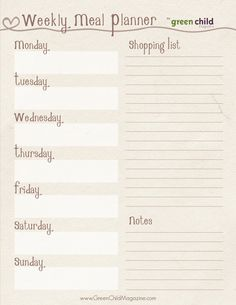 Natural Look Meal Planning Kit { free printables }