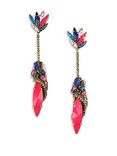 Erickson Beamon Telepathic Crystal Marquis Chain Drop Earrings