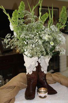 Cowboy boot flower arrangement!