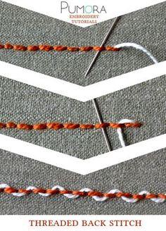 Pumoras stich-lexicon: threaded back stitch, umschlungener Rueckstich/Rückstich…