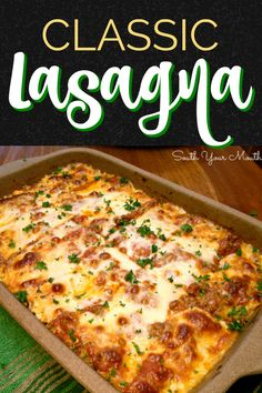 Classic Lasagna Classic Lasagna An easy recipe for classic lasagna using prepared sauce and traditional ingredients. An easy recipe for classic lasagna using prepared sauce and traditional ingredients. Classic Lasagna Recipe Easy, Easy Lasagna Recipe With Ricotta, Best Lasagna Recipe, Lasagne Recipes, Beef Recipes, Cooking Recipes, Healthy Recipes, Classic Recipe, Cooking Food
