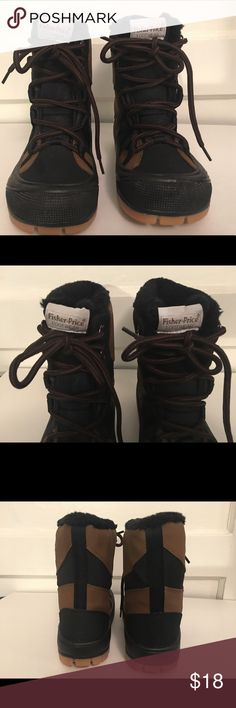 """Fisher Price Toddler Snow Boots Size 11 Brand: Fisher-Price Size: 11 T68-G Style: FP Snowboard Color: Black and Brown Boot Measurements: 7"""" H x 8.5"""" L x 3"""" W  All Man Made Material Fisher-Price (1998) Snow Boots w/Skiing Dinosaur picture on the side. Like New. In great condition. Fisher-Price Shoes Winter & Rain Boots"""