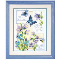"Blue Butterflies - 7.5"" x 10.5"", counted cross-stitch :: Pretty!"