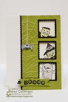 by Aimee Cretsinger, Aimee's Creations Halloween Halloween Paper Crafts, Halloween Projects, Halloween Fun, Handmade Halloween Cards, Halloween Images, Fall Cards, Holiday Cards, Thanksgiving Cards, Card Tags