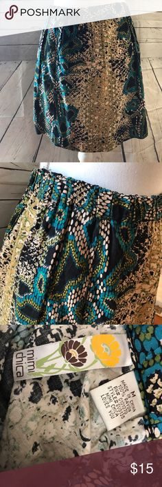 Mimi chica snake print skirt About 16 inches long. Stretchy waist measures 15 inches flat unstretched. Great used condition Mimi Chica Skirts A-Line or Full