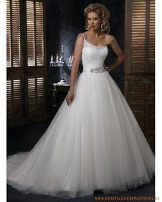 Neues Brautkleid 2013 aus Tüll und Organza Einschulterträger Verziertes Korsett und bodenlanger Ballrock