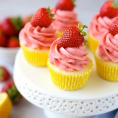 Strawberry Lemonade Cupcakes with all natural dreamy strawberry frosting