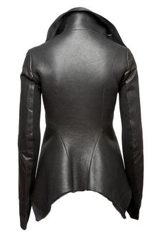 Rick Owens Shearling Peplum Leather Jacket (BACK)