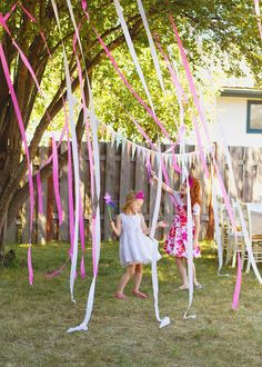Streamers in the trees! Cheap and easy party decoration!