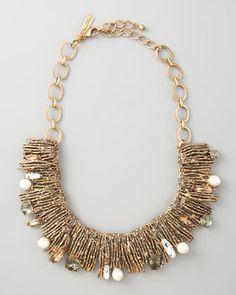 Pearl-Detailed Branch Bib Necklace by Oscar de la Renta at Bergdorf Goodman.
