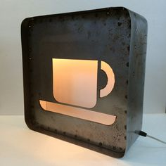 Light Up Steel Industrial Coffee Cup Sign    Each light is handcrafted of steel, a brown patina, a clear coat finish and a gloss white inside.