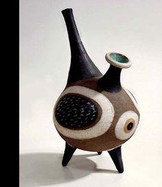 "Louis Mendez footed vase c.1955-57  Stoneware  H: 12"" x W: 7 1/2"" x D: 6 1/2"""