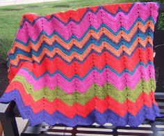 This Nineties Neon Crochet Ripple Pattern is perfect for summer. It's a such a bright and bold crochet afghan pattern.
