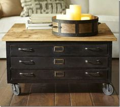 Library Flat File Coffee Table from Pottery Barn. Love this unique table! Coffee Table Pottery Barn, Diy Coffee Table, Coffee Table With Wheels, Coffee Tables For Sale, Repurposed Furniture, Painted Furniture, Industrial Furniture, Refurbishing Furniture, Metal Furniture