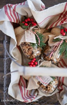 Granola- Christmas Exchange Recipes ~ Add charm with simple, handcrafted tags using craft-colored paper stock, a rubber stamped image and a little baker's twine to tie tag to the jar.