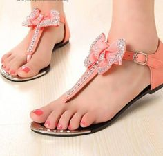 Lovely sandals decorated with ribbon and rhinestones #bling