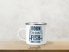 Pentru prietenii noștri pescari am creat această cană emailată personalizată! Fish, Mugs, Tableware, Dinnerware, Pisces, Tumblers, Tablewares, Mug, Dishes