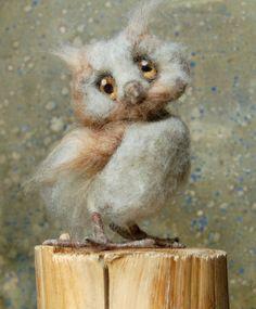 Owl Baby Ollie: Day 9 Criiter a Day von SarafinaFiberArt auf Etsy