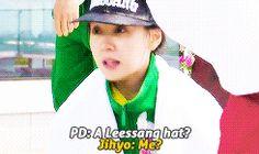 Running Man  Monday Couple. The cute hat switch Song Jihyo Kang Gary