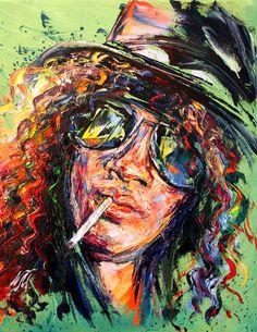 Slash by Natasha Mylius Abstract Art Painting, Colorful Art, Rose Painting, Contemporary Impressionism, Painting, Portrait, Music Art, Pop Art, Love Art