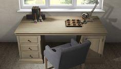 Pr interiors maine partnerdesk bureau in weathered oak eik met leder