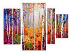 4 luik schilderij bomen 100x134