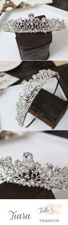 unique hair   accessories    elegant    silver tiara    bridal tiaras