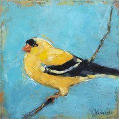 Goldfinch - Birds in the Backyard Series - original oil painting by Deb Kirkeeide, painting by artist Deb Kirkeeide Commercial Art, Fine Art Gallery, Bird Art, Bird Houses, Pet Birds, Paper Art, Street Art, Backyard, Goldfinch