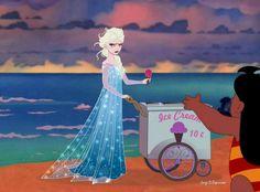 Frozen, queen Elsa, snow, icé cream, beach, lilo, lilo and stich, spring, Disney princess, gag, sketch by Jorge D. Espinosa