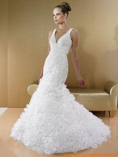 Wunderschönes elegantes Brautkleid aus Organza V-Ausschnitt