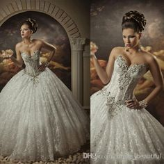 Royal Dramatic Sexy Sweetheart Ball Lace Bling Crystals Ball Gown Wedding Dresses | Buy Wholesale On Line Direct from China