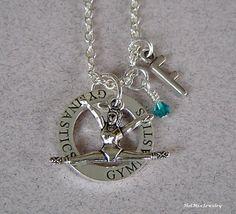 gymnastics sports necklace custom made hand stamped jewelry