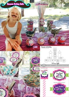 Mustache Candy Buffet for a 13 year old girls Park Birthday. Additionally her colors were Pink, Purple and Lime Green. $180 pick up ready and Includes everything, the custom giant pixy sticks, labels, jeweled scoops tongs